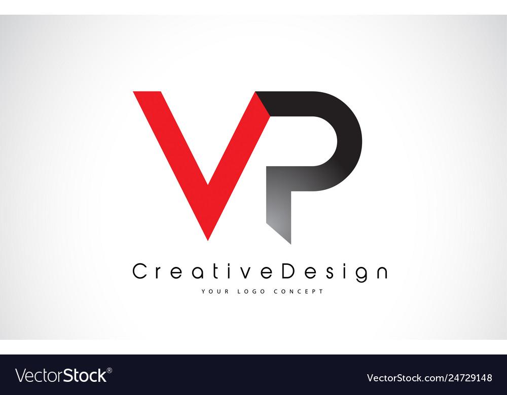Red and black vp v p letter logo design creative