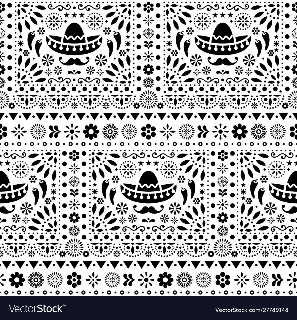 Seamless monochrome mexican floral pattern