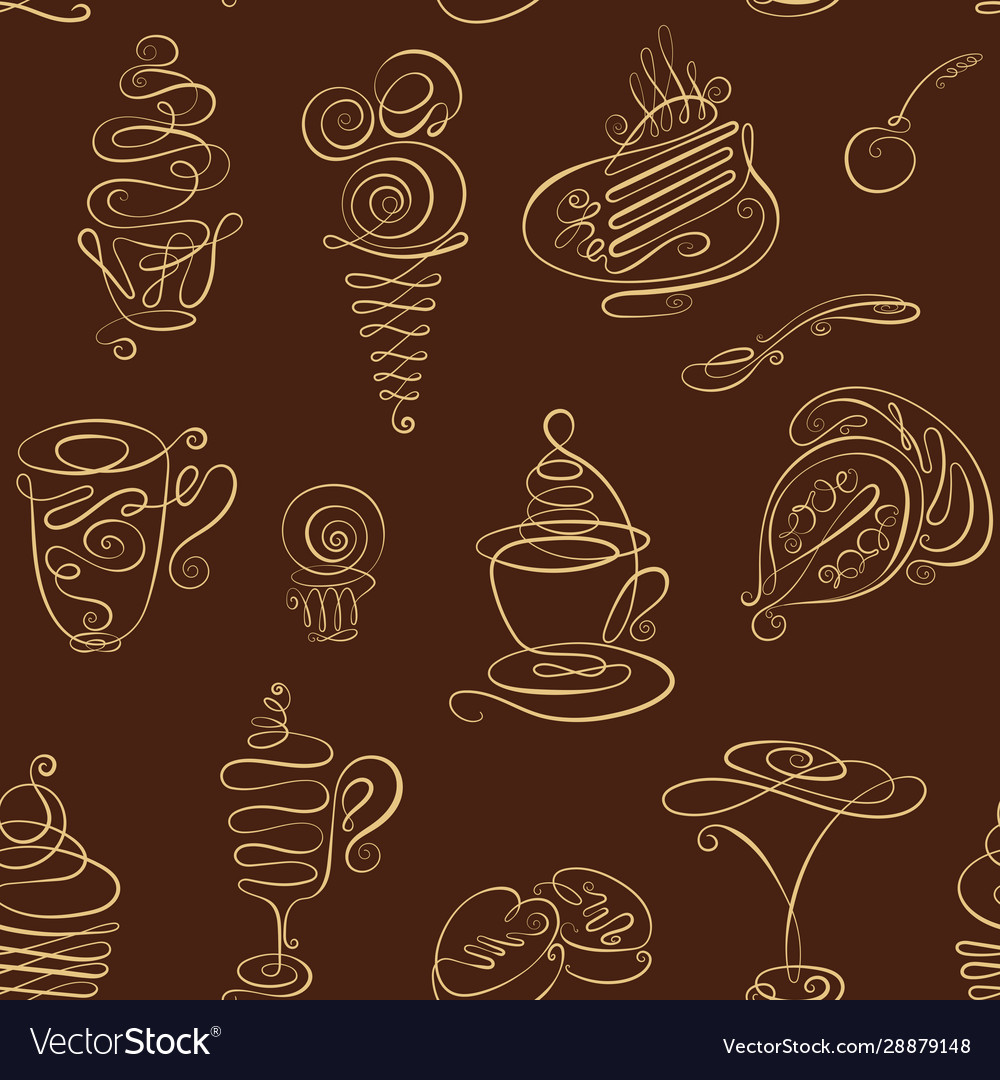 Seamless monochrome pattern with hand drawn line