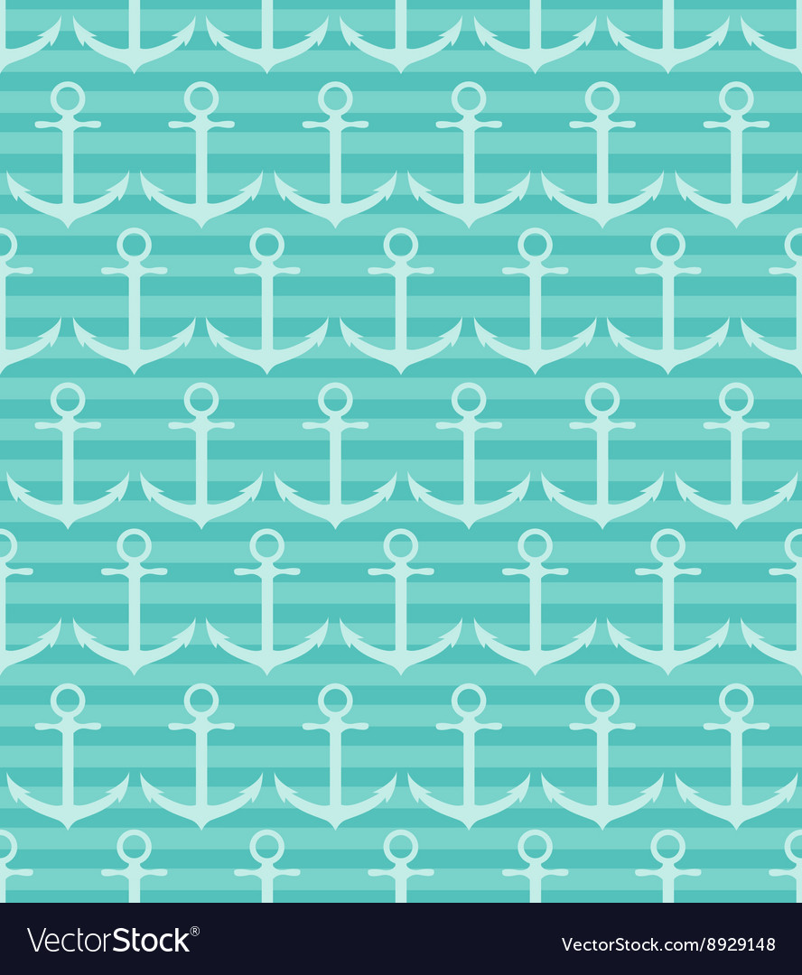 Seamless pattern with anchor on blue striped