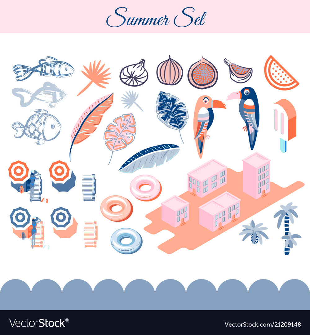 Summer holidays clip art objects