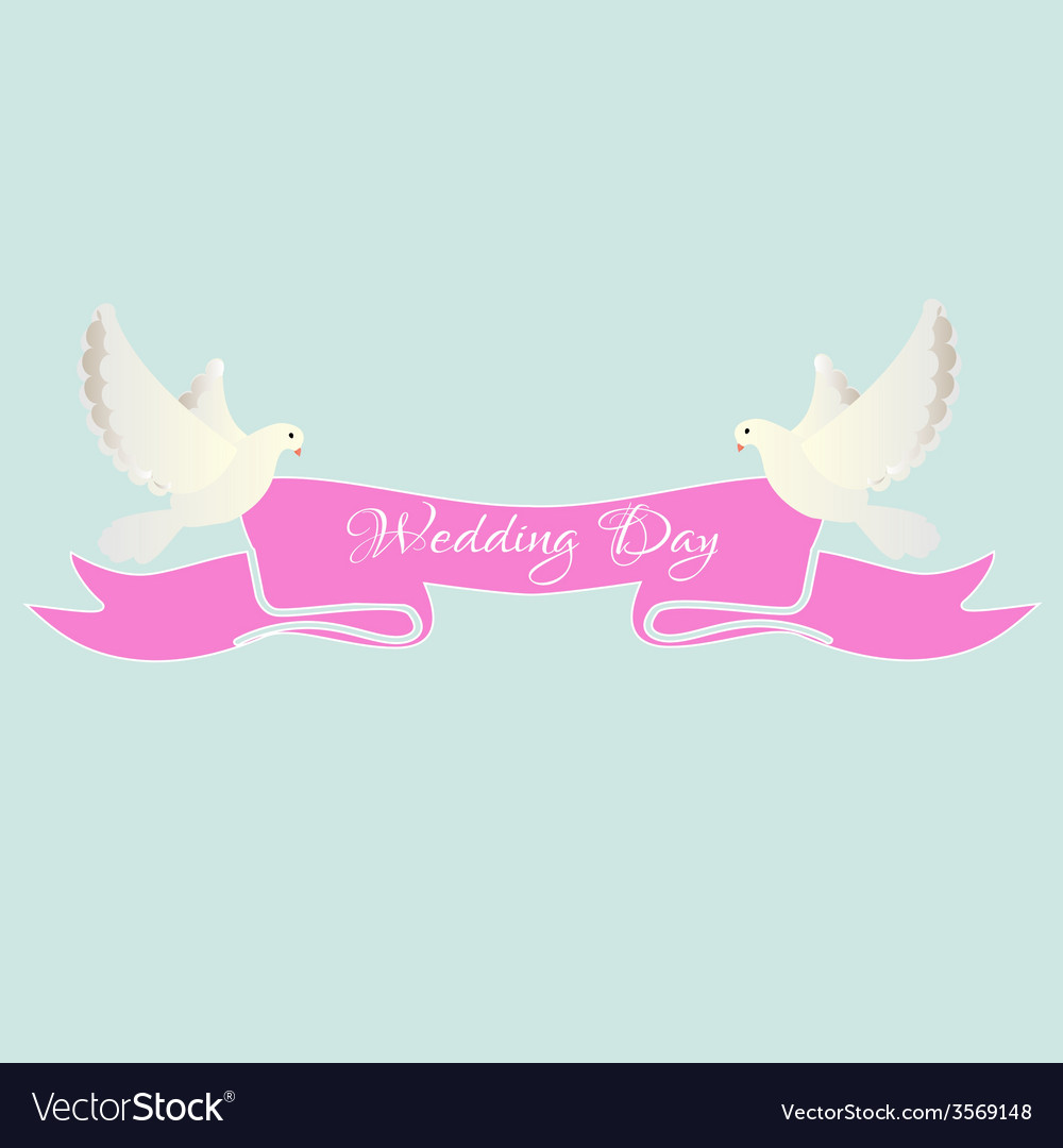 White dove with pink ribbon Royalty Free Vector Image