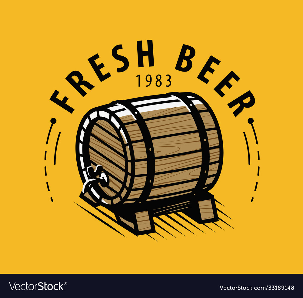 Wooden beer barrel with faucet symbol alcoholic