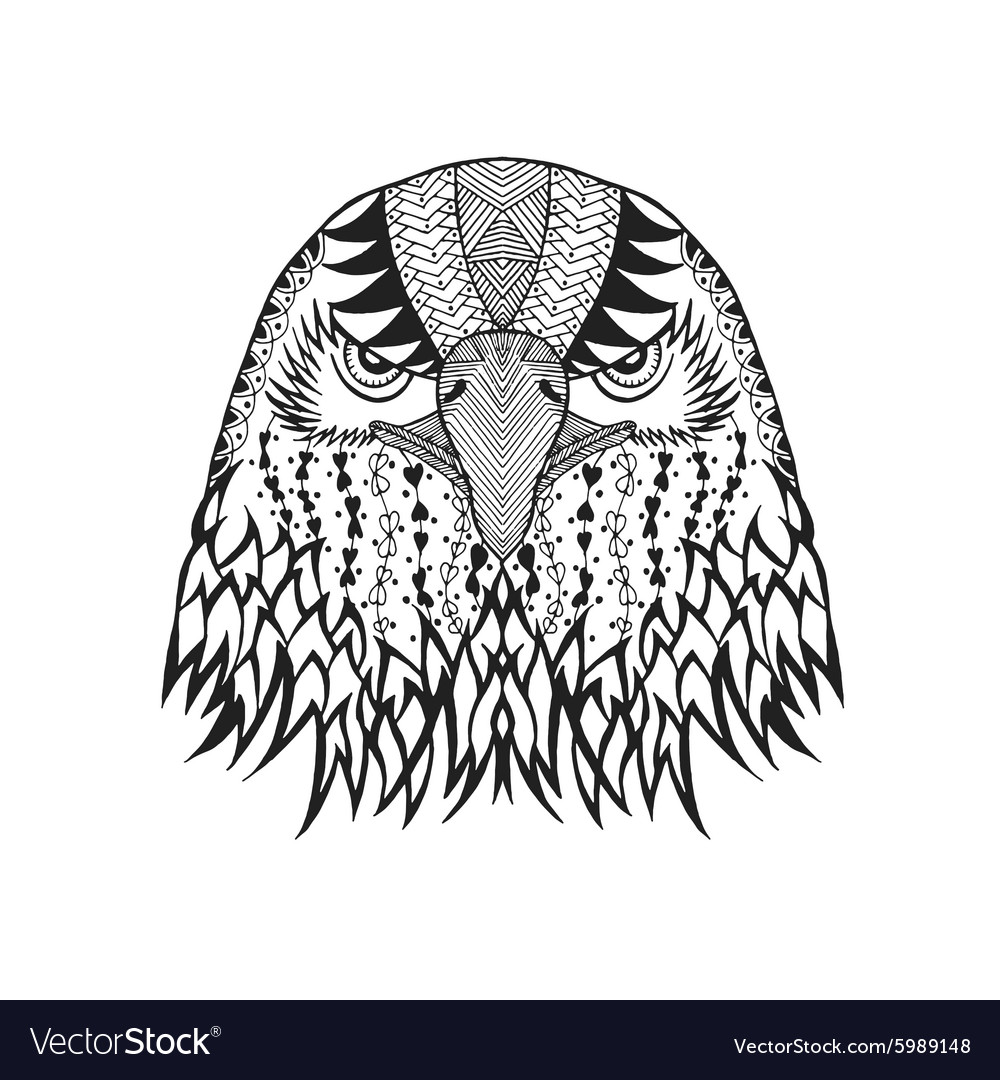 Zentangle stylized eagle head Sketch for tattoo vector image