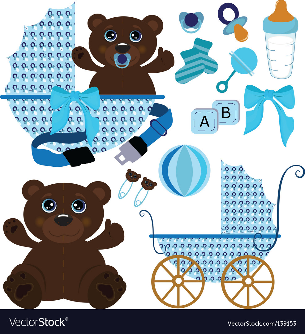 Baby boy stuff vector image