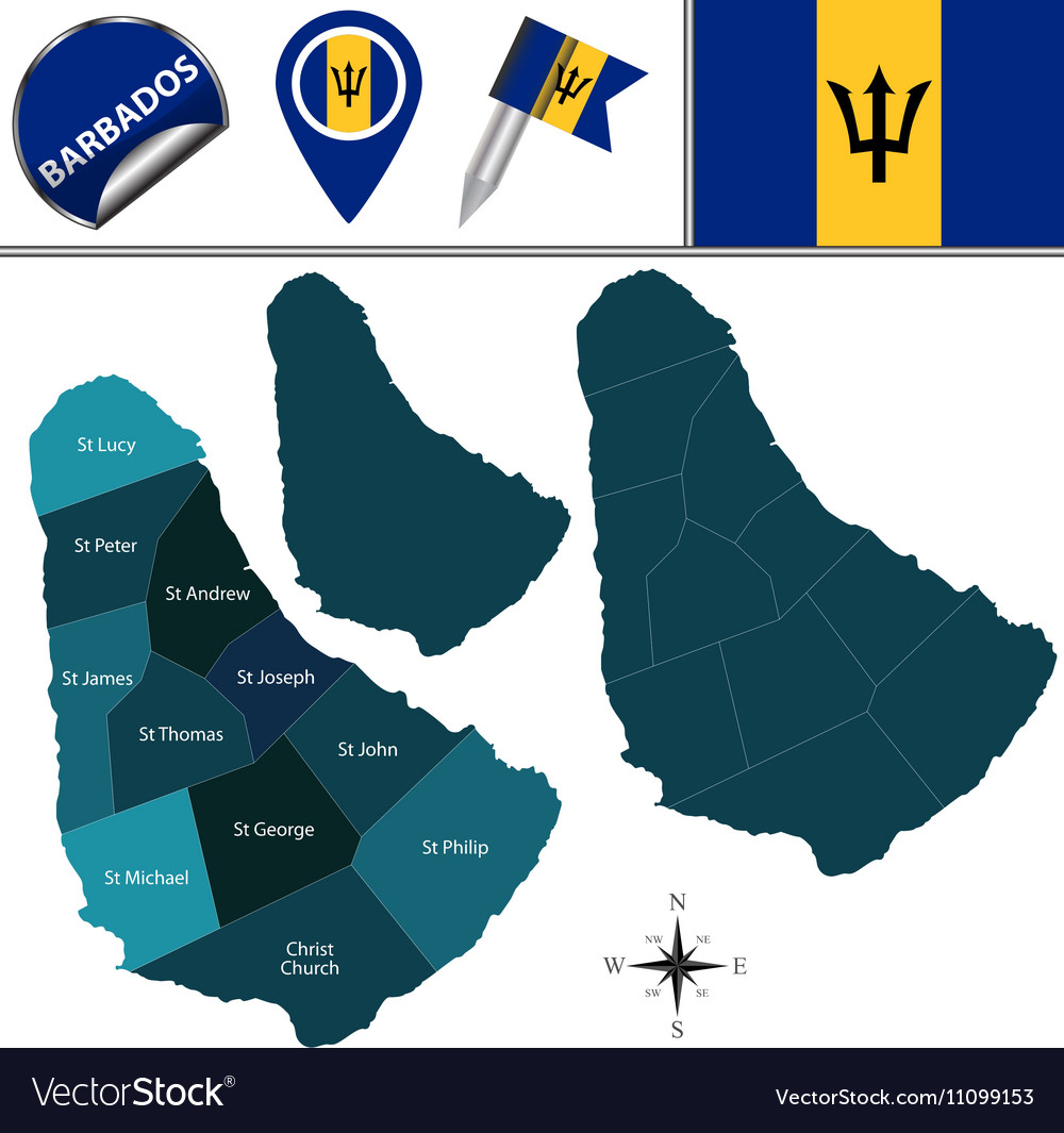 Barbados map with named divisions