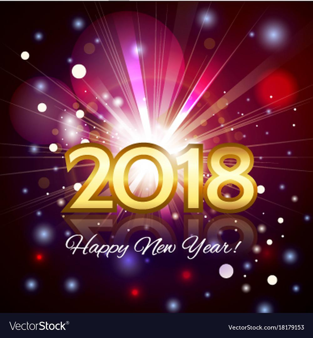 Beautiful fireworks happy new year 2018 card
