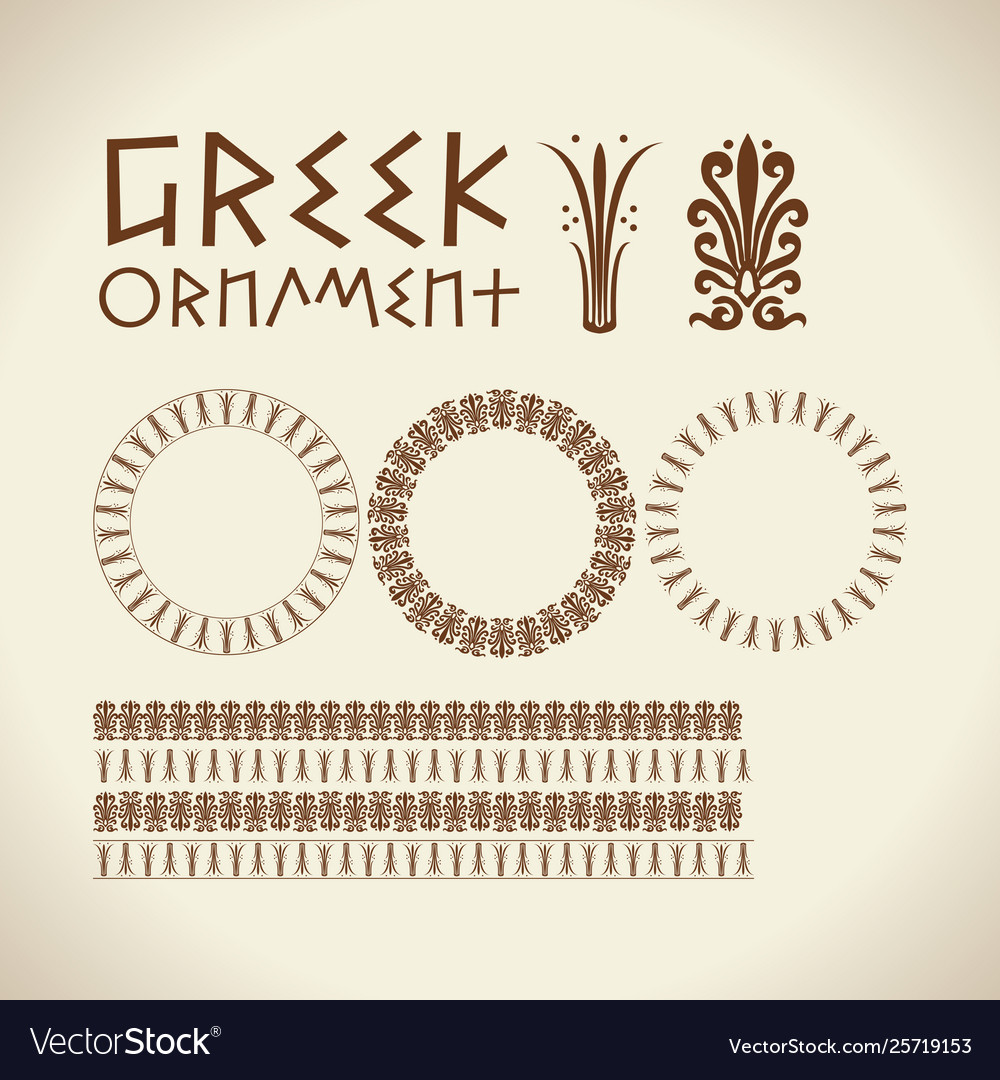 Greek traditional ornament meander border set