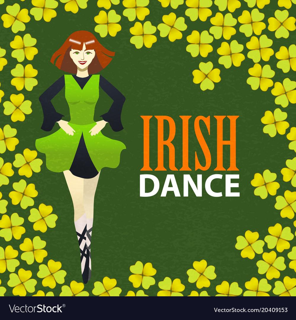 irish dance studio template in cartoon style vector image