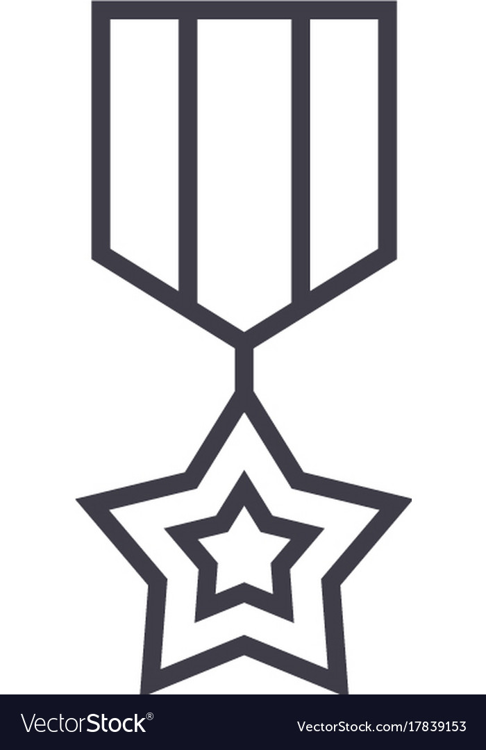 Medal star line icon sign on