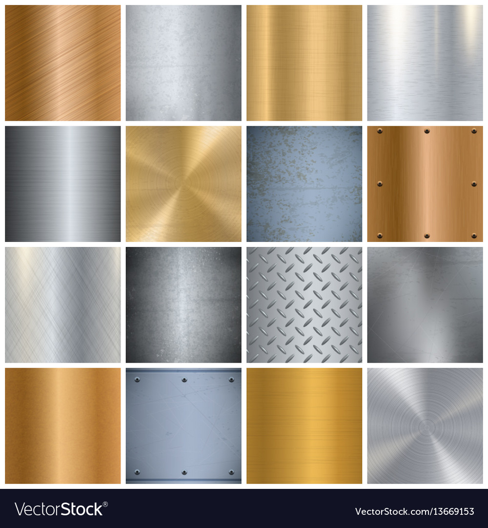 Metal texture realistic big icons set vector image