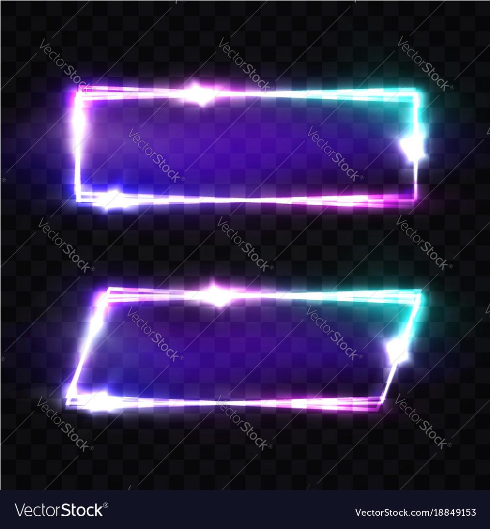 Night club neon signs set blank retro light frame