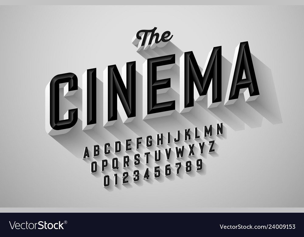 Old Movie Title Vintage Font Royalty Free Vector Image