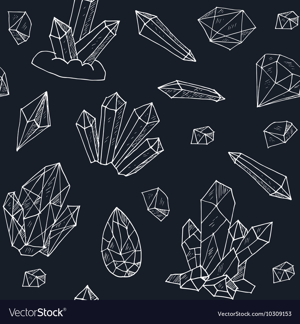Seamless pattern geometric crystals gem and