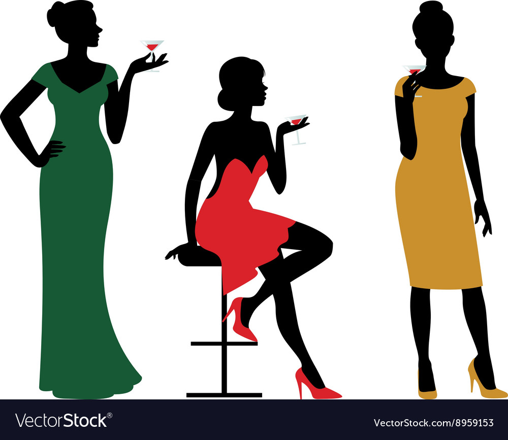 Silhouettes of women dressed in evening dress