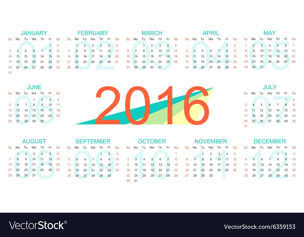 Template Calendar 2016 Years Week Starts Vector Image