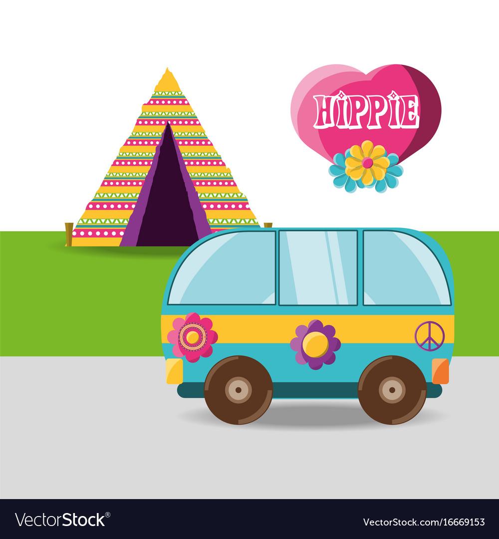 Van with flower hippie concept vector image