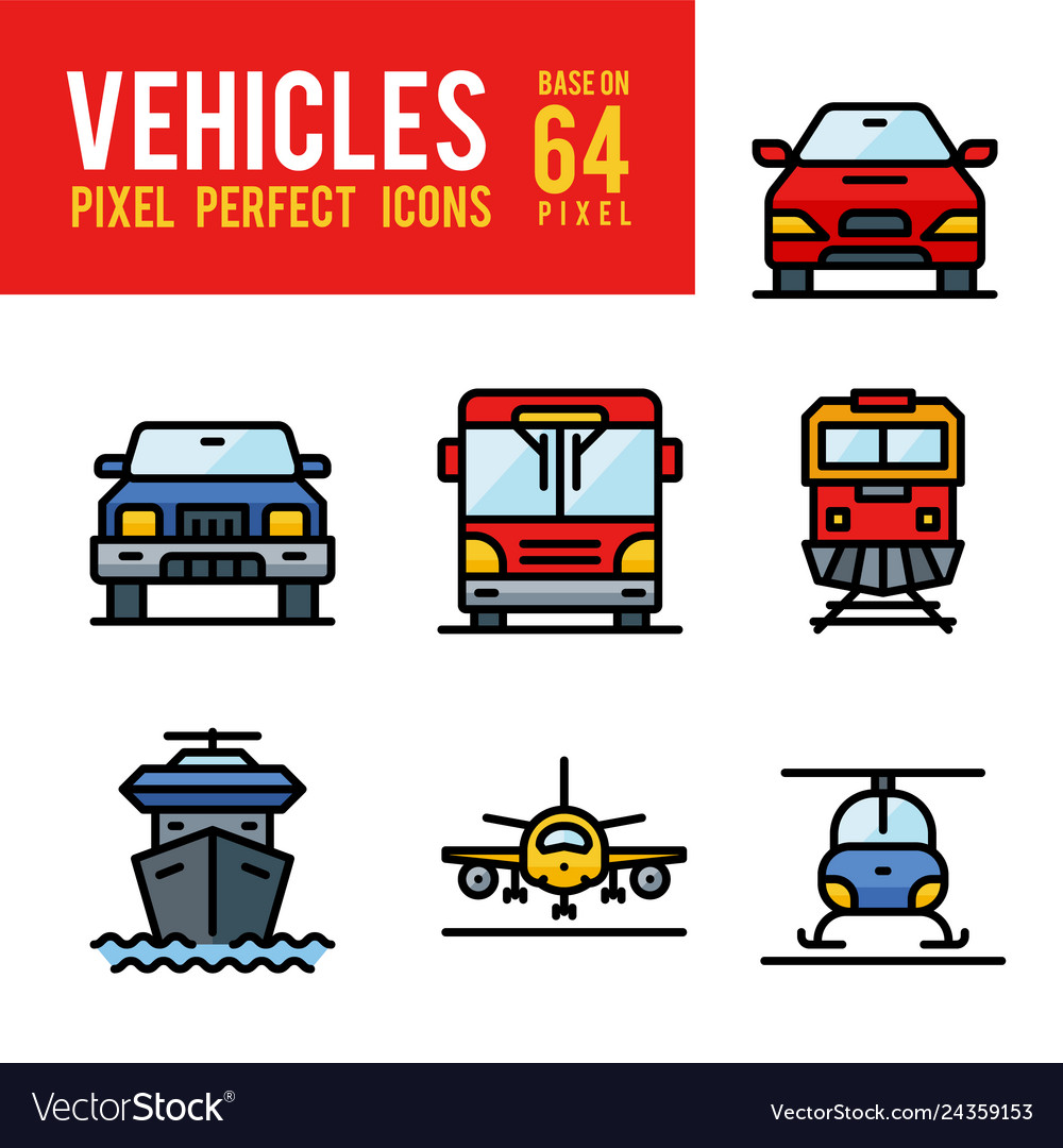 Vehicle and transport outline color icon pixel