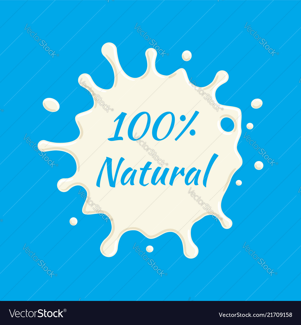 100 percent natural milk label milk splash