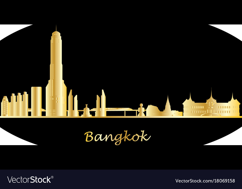 Bangkok city skyline gold with text
