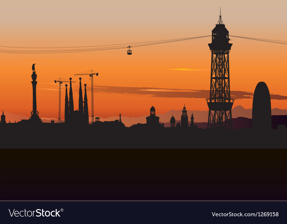 Barcelona Cable Car Tower vector image