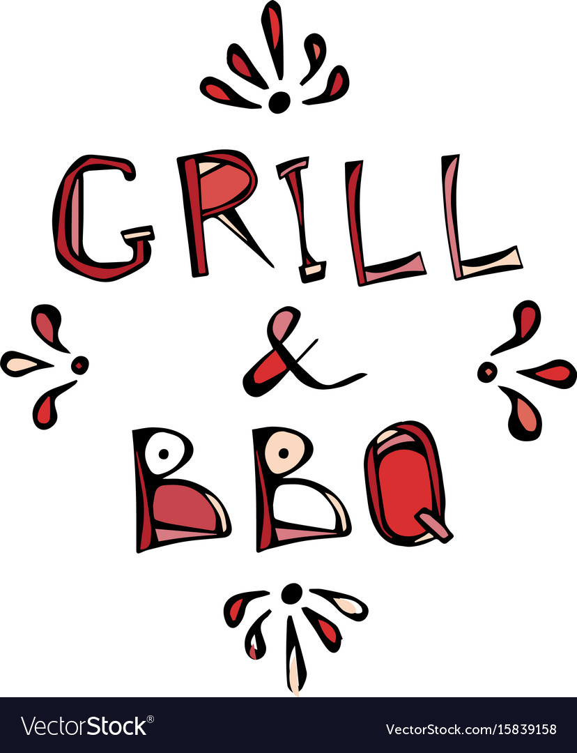 Bbq and grill decorative meat lettering realistic