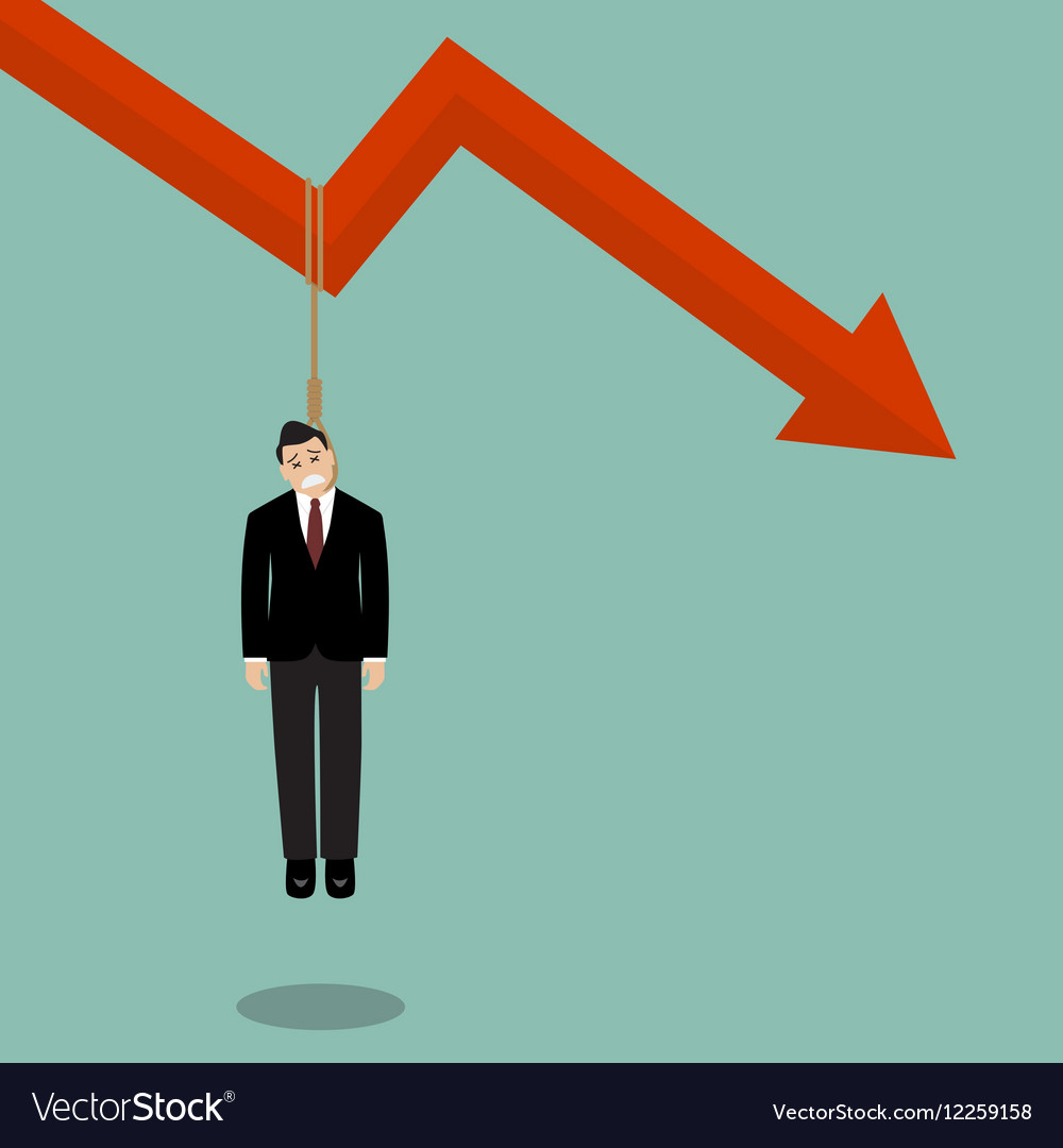 Businessman hang himself on a graph down
