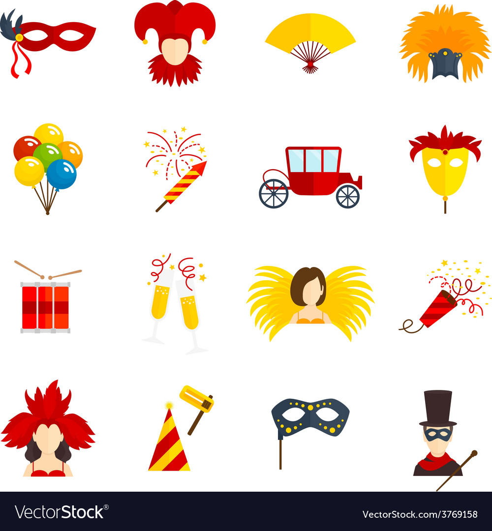 Carnival icons set flat vector image