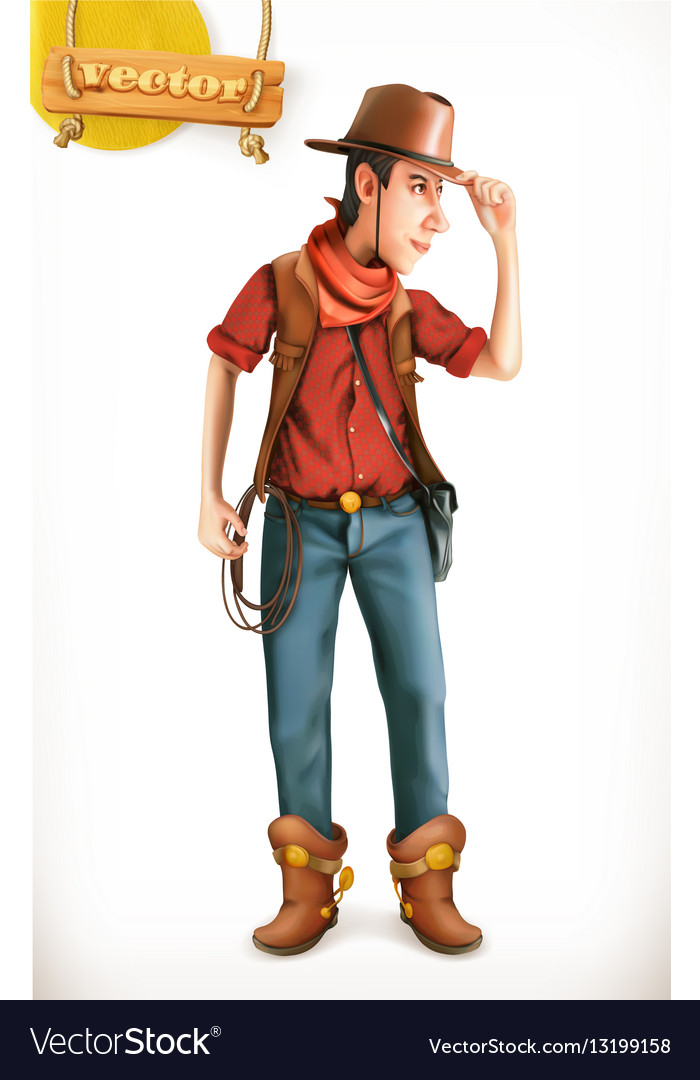 Cowboy cartoon character Adventure 3d icon