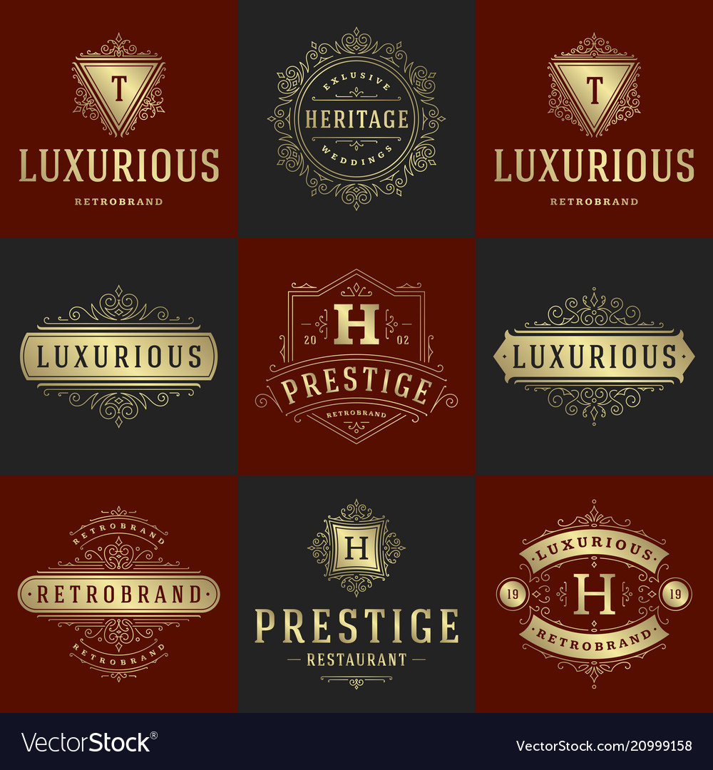 Luxury logos templates set flourishes