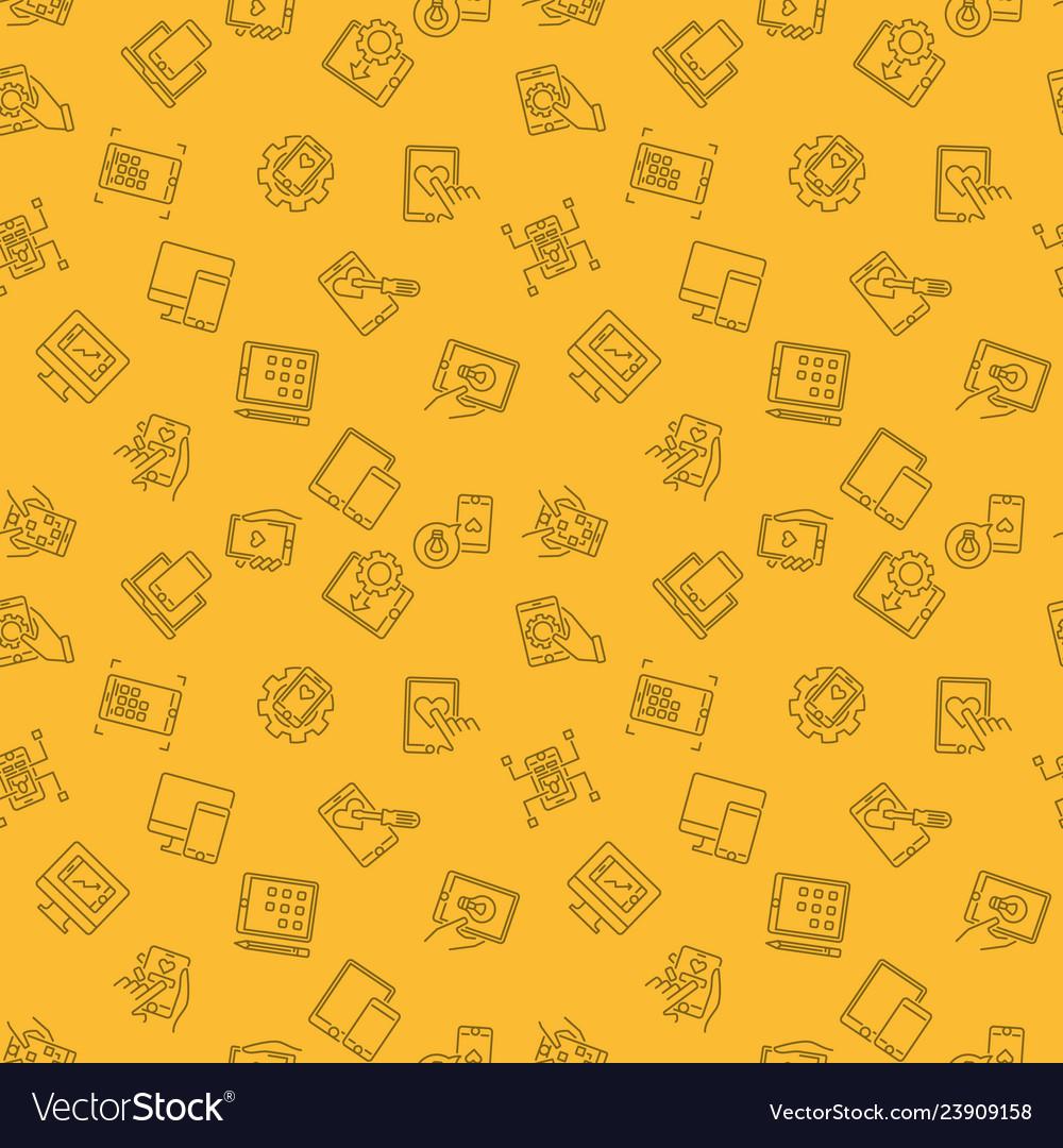 Mobile app development yellow line seamless
