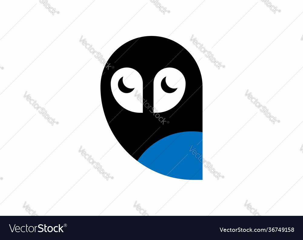 Owl bird modern simple logo half moon eyes icon