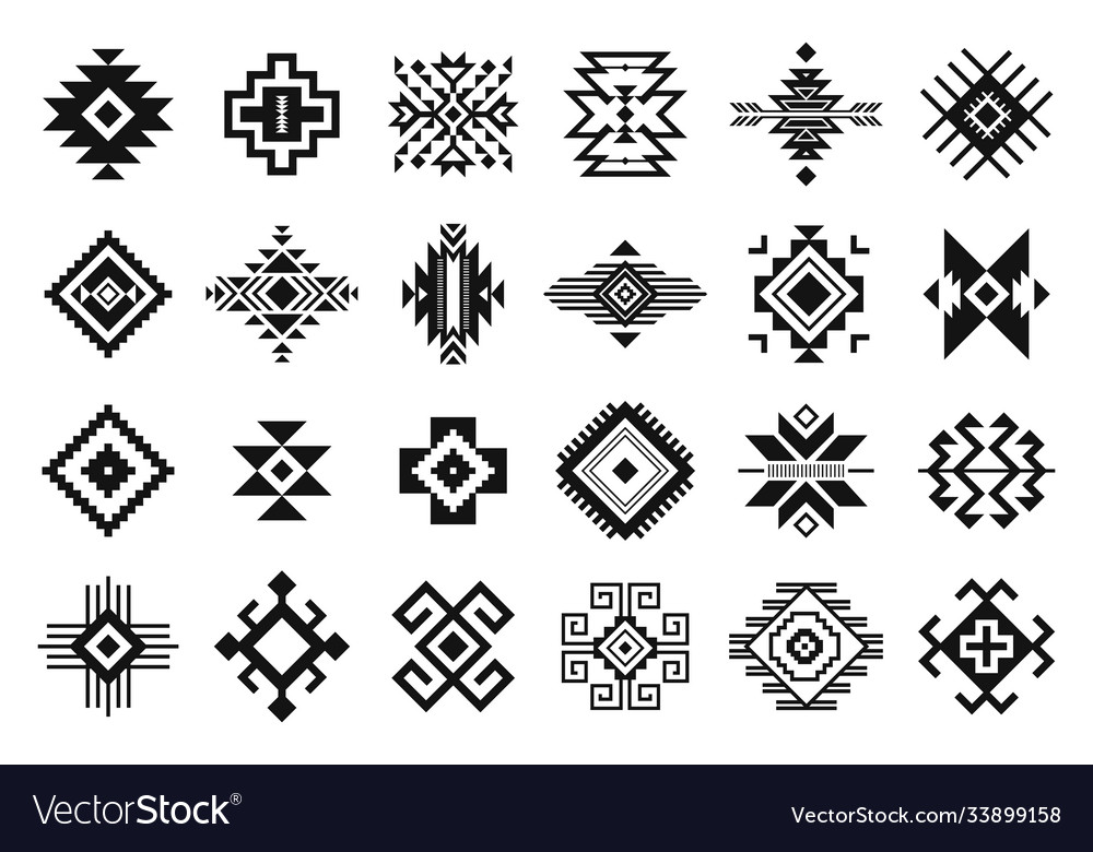 Tribal elements monochrome geometric american