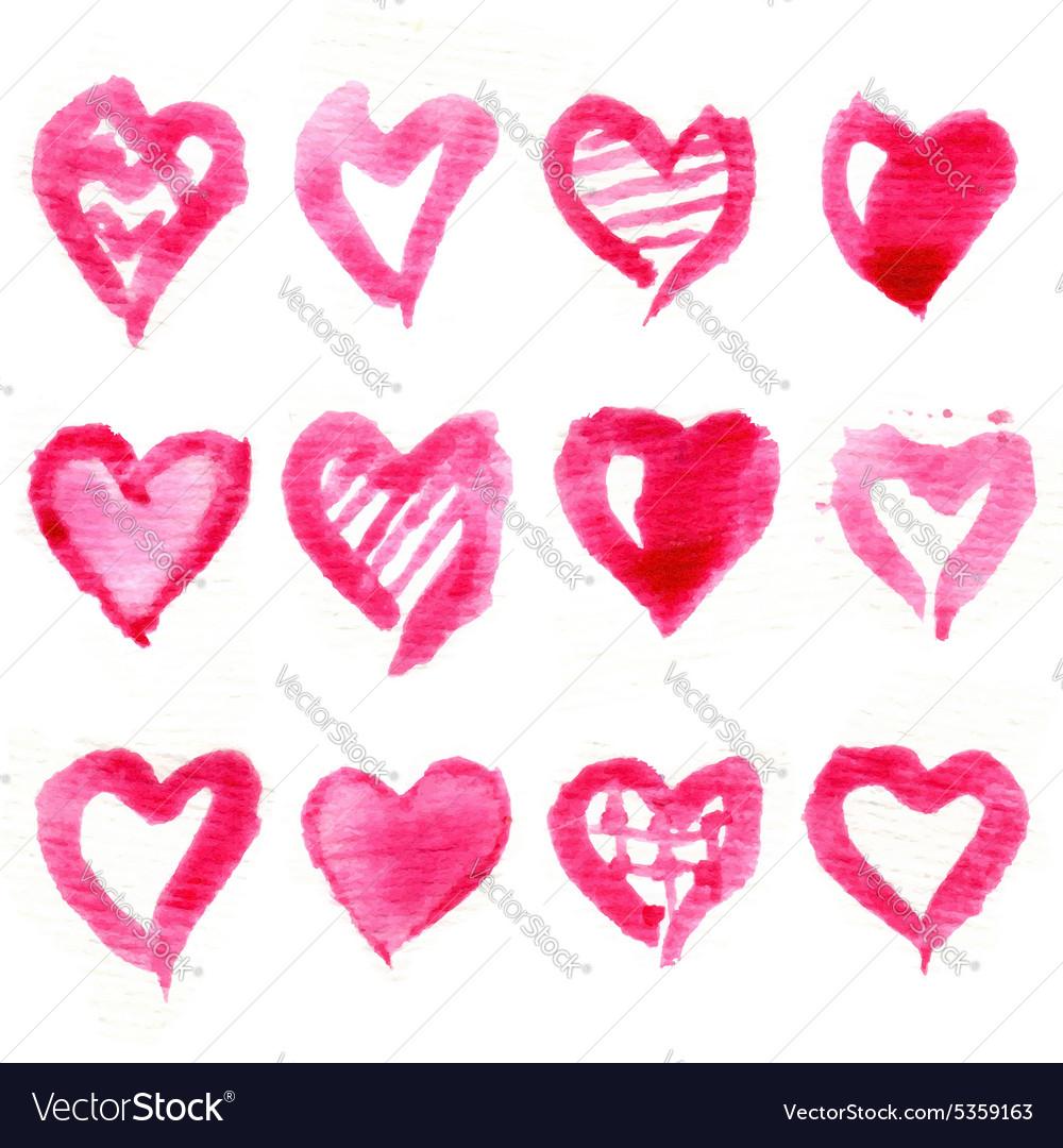 Big set of pink watercolor hearts