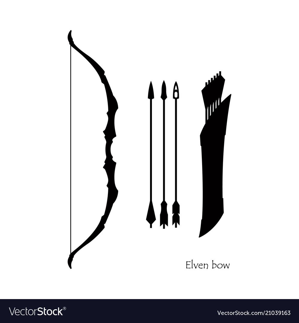 Black silhouettes of elven bow with arrows