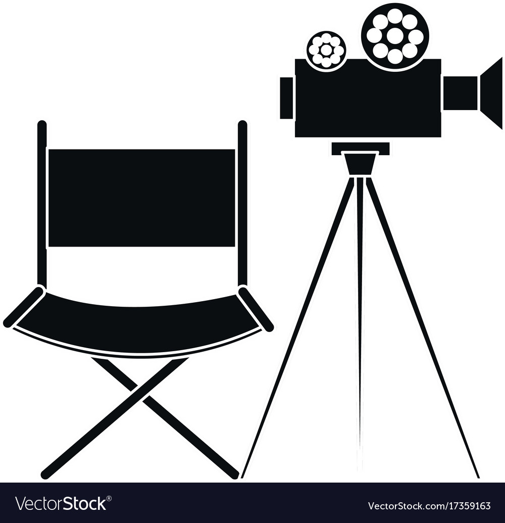 Film video camera with director chair vector image  sc 1 st  VectorStock & Film video camera with director chair vector image on VectorStock