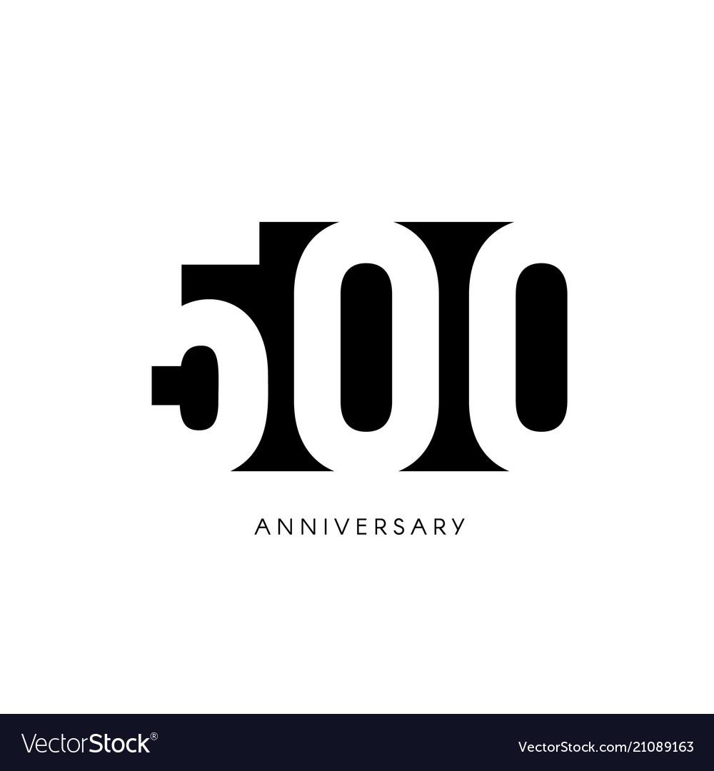 Five hundred anniversary minimalistic logo five