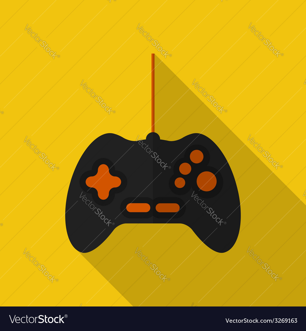Flat gamepad with long shadow icon