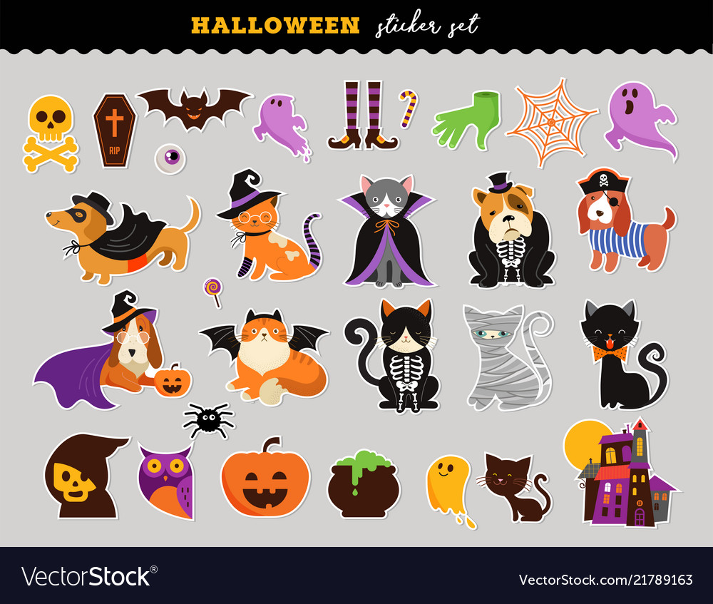Happy halloween - stickers set of cats and dogs in