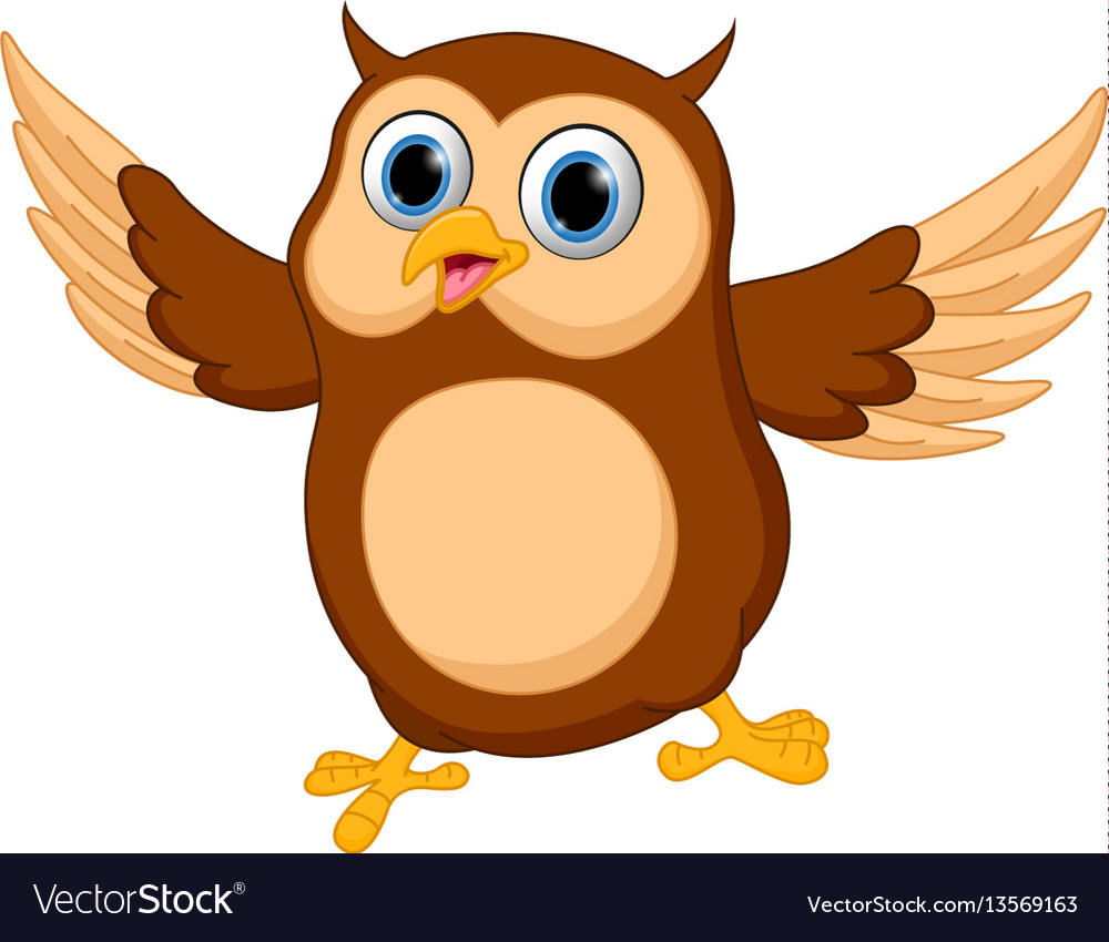 Happy owl cartoon Royalty Free Vector Image - VectorStock