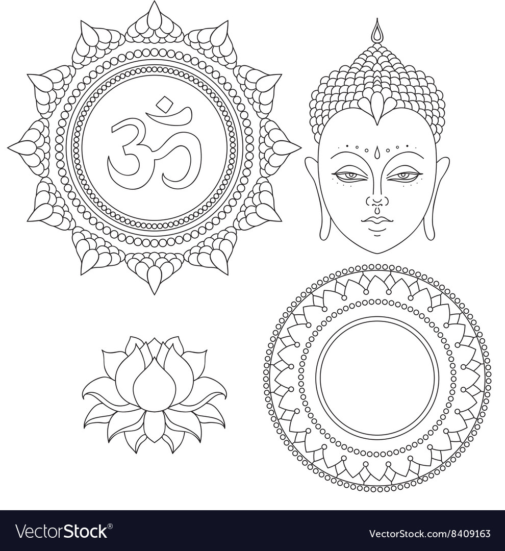 Head Of Buddha Om Sign Hand Drawn Lotus Flower Vector Image