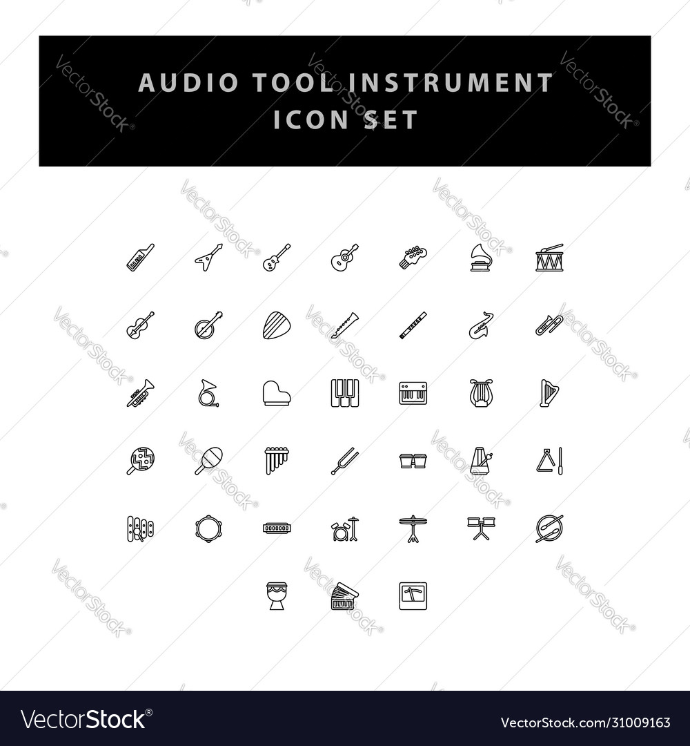 Musical instruments icons set with outline design