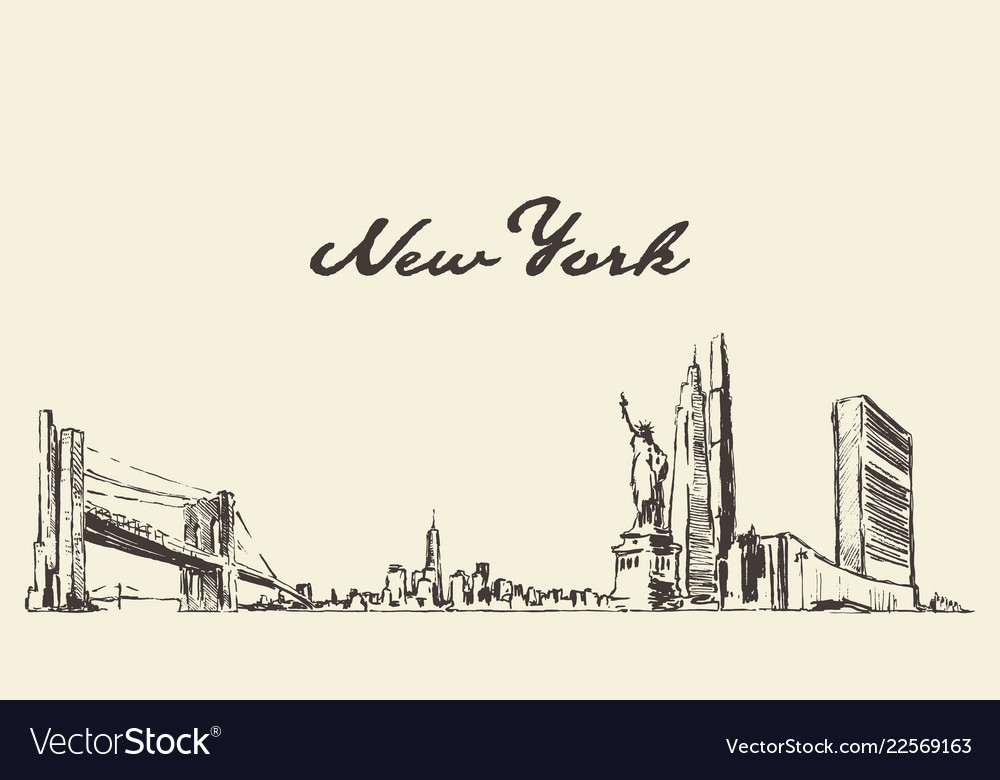 New york skyline usa city drawn sketch