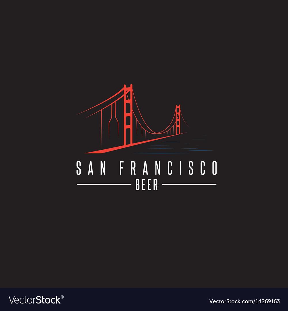 San francisco golden gate bridge with beer vector image