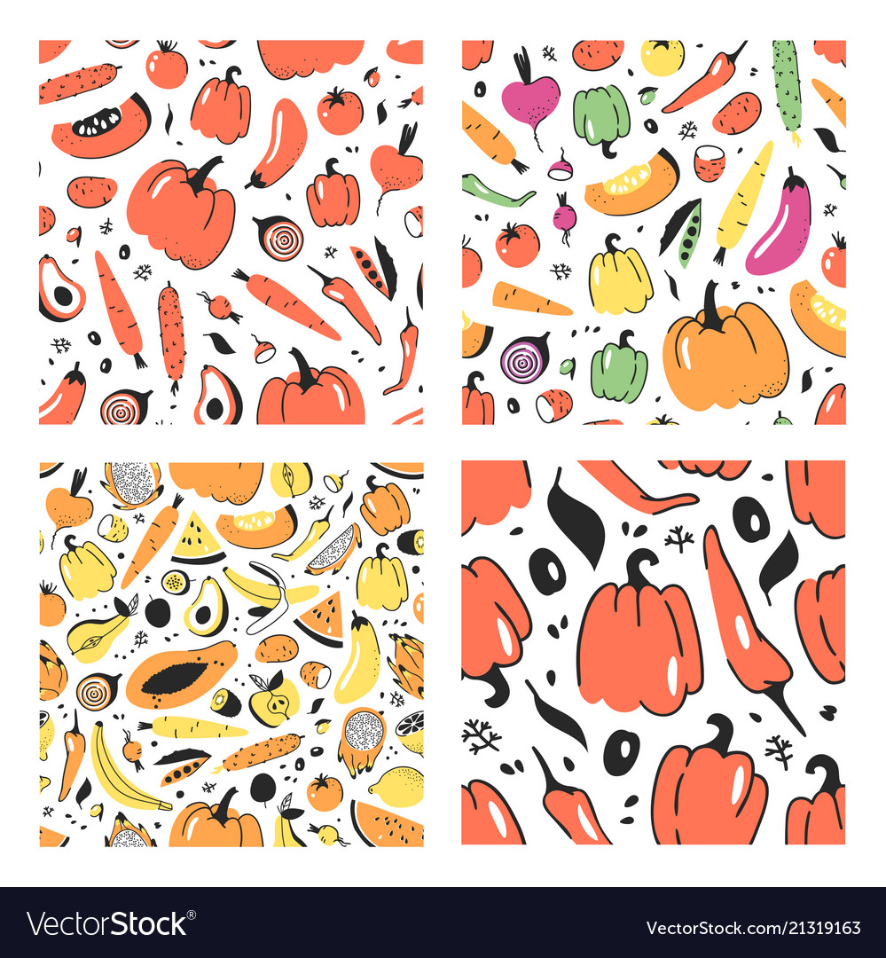 Set of hand drawn seamless pattern with fruits and