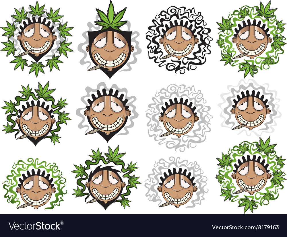 Smiling happy relaxed guy smoking marijuana vector image