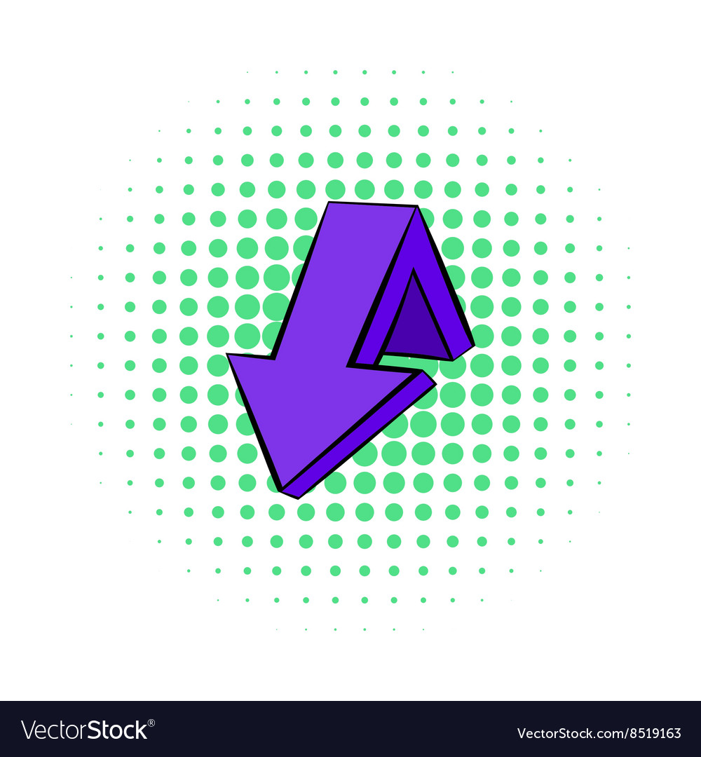 Violet down arrow icon comics style