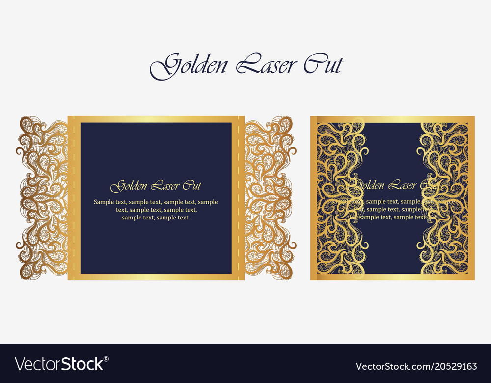 Wedding Invitation Or Greeting Card With Gold
