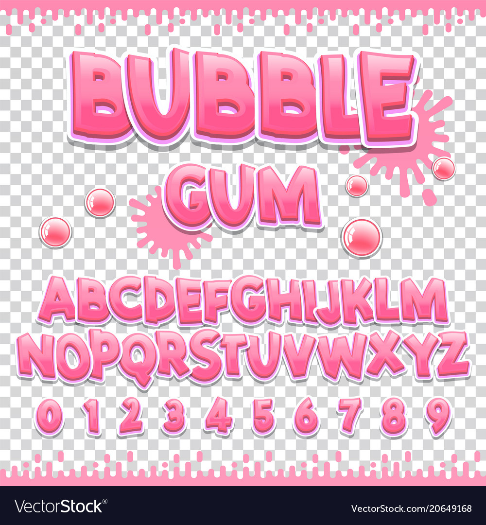 Bubble gum latin font design sweet abc letters