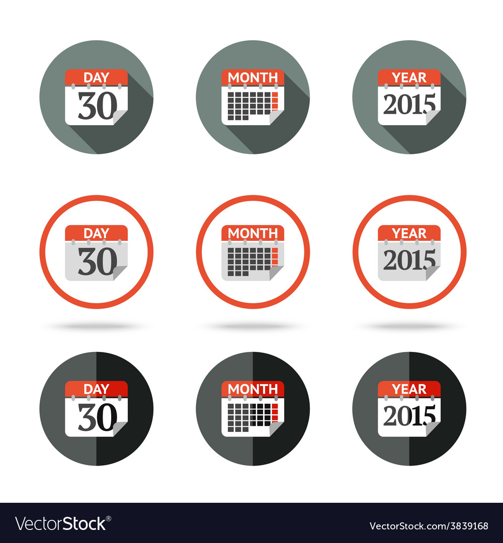 Calendar icons set - year month day Different